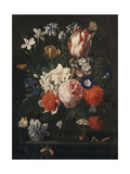 A Rose, a Tulip, Morning Glory and Other Flowers in a Glass Vase on a Stone Ledge, 1671 Giclee Print by Nicholaes van Verendael