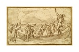 Christ and St Peter Walking on the Water Giclee Print by Domenico Campagnola
