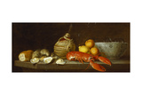 Bread, Oysters, a Chianti Flask, a Lobster, Lemons, Oranges and Glasses in a Porcelain Bowl on a… Giclee Print by Jakob Bogdani Or Bogdany
