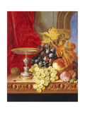 Grapes and a Peach with a Tazza on a Table at a Window Giclee Print by Edward Ladell