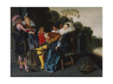 An Elegant Party Making Music by an Ornamental Lake Giclee Print by Dirck Hals