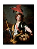 David with the Head of Goliath, C.1636 Lámina giclée por Bernardo Strozzi