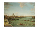 The Thames from the Terrace of Somerset House, Looking Towards the City, C.1745 Giclée-tryk af Antonio Joli