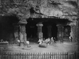 India: Picnic at the Entrance of the Elephanta Caves Near Bombay, 1870s Photographic Print by Willoughby Wallace Hooper