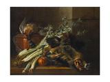 A Dead Mallard, a Boar's Head, Celery and a Copper Pot on a Ledge, 1738 Giclee Print by Jean-Baptiste Oudry