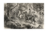 Mungo Park Encountering a Lion Whilst on His Way to the Village of Modiboo, 1825 Giclee Print by  Dalziel Brothers