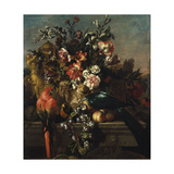 Carnations and Other Flowers with Parrots on a Pedestal Giclee Print by Pieter Casteels