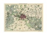 Map of Berlin, Published by D. Reimer Verlag, Berlin, 1871 Giclee Print by Leopold Kraatz
