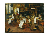 A Singerie: Monkey Barbers Serving Cats Giclee Print by Jan Van, The Elder Kessel