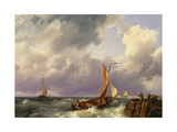 Shipping Off a Jetty, 1852 Giclee Print by Hermanus, the Younger Koekkoek