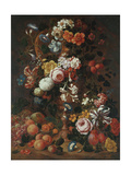Roses, Dahlias, Convolvulus, a Tulip and Other Flowers, in a Sculpted Urn Giclee Print by Nicholaes van Verendael