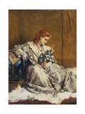 Daydream, Young Red-Headed Girl with Blue Ottoman Giclee Print by Alfred Emile Stevens