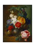 Roses, Poppies, Morning Glory and Other Flowers in a Vase with a Bird's Nest on a Ledge Giclee Print by Jan van Os