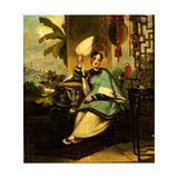 Portrait of a Girl with a Parrot Giclee Print by George Chinnery