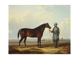 An Arab Stallion Held by a Groom with an Encampment Beyond Giclee Print by Charles Towne