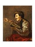 A Seated Lutanist Pointing Giclee Print by Hendrick Ter Brugghen