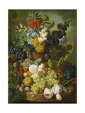 Still Life of Flowers and Fruit Giclee Print by Jan van Os