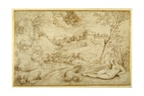Landscape with Roger and Angelica, from 'Orlando Furioso', X, after Titian Giclee Print by Domenico Campagnola