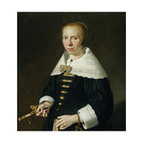 A Portrait of a Lady Holding a Fan, 1650 Giclee Print by Jan Victors