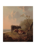 Cattle in an Italianate Landscape Giclee Print by Jacob van Strij
