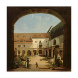 The Convent Courtyard of Petits-Augustins in Paris, C.1818 Giclee Print by Etienne Bouhot