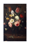 Roses, Tulips and Other Flowers in a Glass Vase, with Insects, on a Table Giclee Print by Jan Van, The Elder Kessel