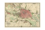Map of Berlin, Printed by Koenigl. Lithogr. Institut, Berlin, 1857 Giclee Print by German School