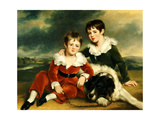 Portrait of Two Boys with their Newfoundland Dog Giclee Print by Ramsay Richard Reinagle