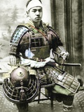Samurai of Old Japan Armed with Full Body Armour, C.1880 Photographic Print