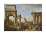 Roman Ruins with the Arch of Titus, 1734 Giclee Print by Giovanni Paolo Panini