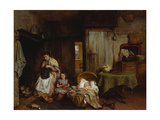 A Sewing Lesson by the Fire, 1867 Giclee Print by George Smith