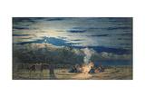 Artist's Halt in the Desert by Moonlight, C.1845 Giclée-tryk af Richard Dadd