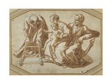 The Holy Family and St Anne with the Christ Child About to Be Taught to Walk Giclee Print by Giulio Romano