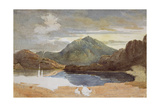 A Lake in North Wales, Snowdon in the Distance Giclee Print by David Cox
