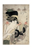 The Courtesan Ichikawa of the Matsuba Establishment, Late 1790s Gicleetryck av Kitagawa Utamaro