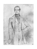 Portrait of Alphonse De Lamartine, 1844 Giclee Print by Theodore Chasseriau