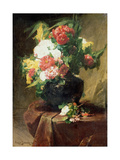 Peonies in a Vase on a Draped Table. 1895 Giclee Print by Georges Jeannin