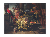 A Still Life with Fruit, Wine Cooler, Monkey, Parrots and a Turtle in a Portico Giclee Print by David Emil Joseph de Noter