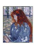 Woman Reading, 1899 Gicléetryck av Théo van Rysselberghe