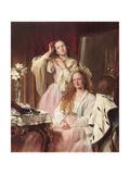 Portrait of Emma and Frederica Bankes of Soughton Hall at their Dressing Table, 1869 Giclee Print by Henry Tanworth Wells