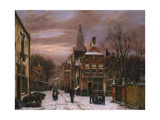 A Wintry Scene: a Dutch Street with Numerous Figures Giclee Print by Willem Koekkoek