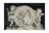 Zephyr in a Painted Roundel Supported by Putti Floating on Clouds Giclee Print by Jacob Xavery