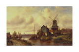 A Dutch River Village Giclee Print by Charles-Henri-Joseph Leickert