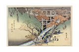 Red Maple Leaves at Tsuten Bridge, from the Series 'Famous Places of Kyoto' Giclee Print by Ando or Utagawa Hiroshige