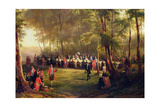Lunch Given by Louis-Philippe for Queen Victoria in the Forest of Eu, 6th September 1843, 1844… Giclee Print by Karl Girardet