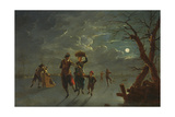 Ice Skating by Moonlight Giclee Print by Franz Ferg