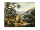 Landscape with a Waterfall, C.1830 Giclee Print by Achille Hector Camille Debray