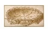 Design for an Oval Fruit Bowl, with Vine Tendrils, Leaves and Grapes Giclée-tryk af Romano, Giulio