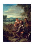 Scene from Don Quixote: Sancho Panza Counts Don Quixote's Teeth, 1735 Giclee Print by John Vanderbank