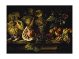 Still Life of Water Melon, Grapes, Plums, Peaches, Cherries and Other Fruit on a Ledge Giclee Print by Abraham Brueghel
